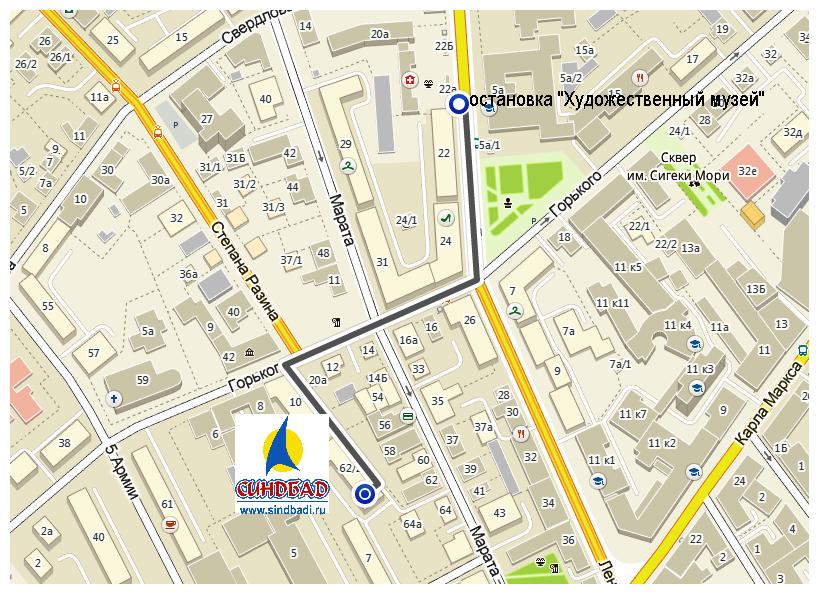 """Офис Синдбад в Иркутске, как добраться от остановки """"Художественный музей"""""""